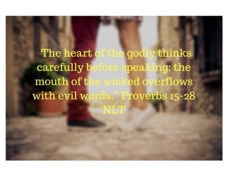 """The heart of the godly thinks carefully before speaking; the mouth of the wicked overflows with evil words."" Proverbs 15-28 NLT"